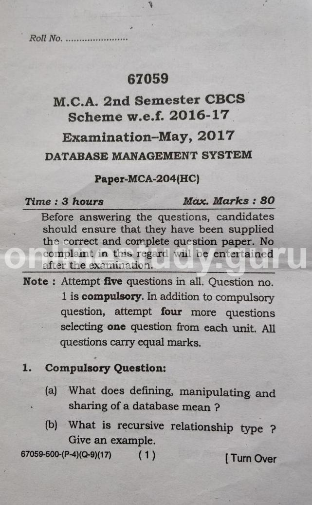Database Management Systems(67059) | onlinestudy guru